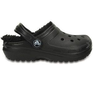 CROCS fur lined Black Toddler Shoes Size 7 NEW